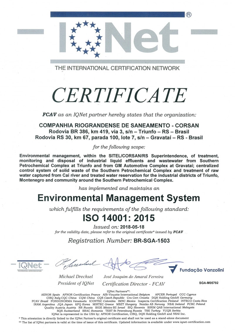Certificate IQNet FCAV ISO 14001 2015